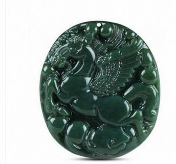 Wholesale - Xinjiang Hetian jade sapphire horse pendant male and female models to success Pegasus round pendant