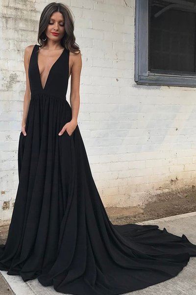 Fashionable Backless Deep V Neck Sexy A Line New Evening Dress with Pockets Simple Satin Long Party Formal Prom Gowns Custom Made