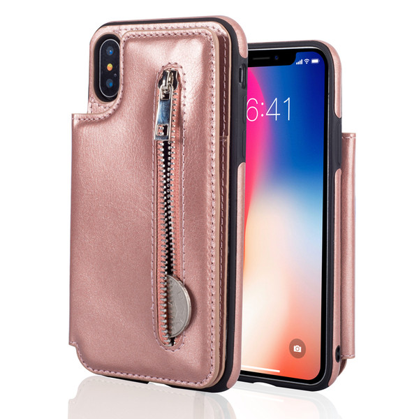 New Xr zipper type multi-function mobile phone shell iPhone XS Max rear cover leather sheath protector for iphone x/xs max xr 8 7 6.