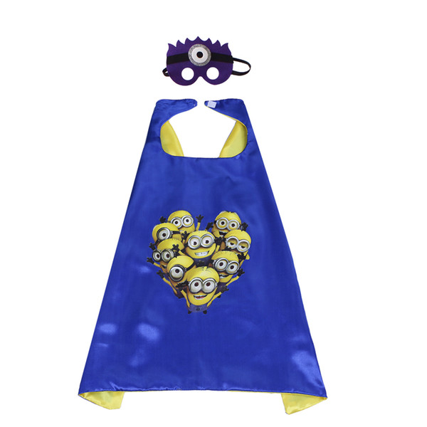 top popular 70cm * 70cm satin dyed fabric cosplay costome cartoon character play cosplay cape and mask set wholesale child favor party clothing 2021