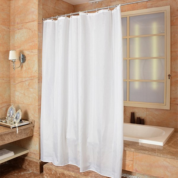 Comwarm Nordic Brief Solid Color Relax White Light Shower Curtain Pale Color Simple Waterproof Polyester Curtain for Bath Room