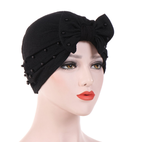 Womens Full Pearl Bowknot Bow tie Stretch Hijab Turban Headwear Cap Ruffle Chemo Hat Beanie for Cancer Patients hair accessories
