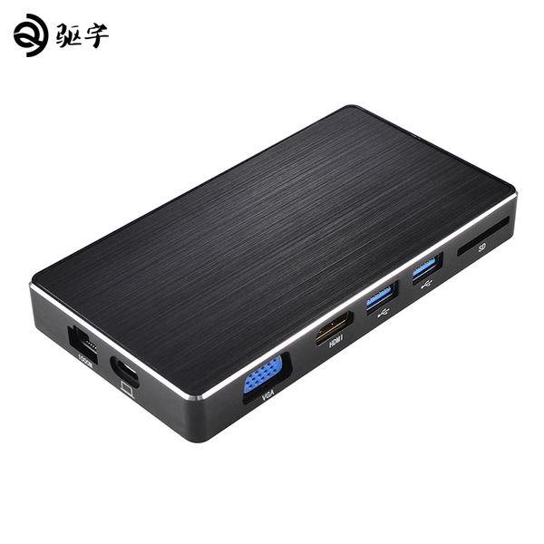 USB-C-Adapter in einem Typ-C zu 3.0 HUB / HDMI / VGA / RJ45 / SD / USB3.0 Konverter mit PD-Lade für MacBook / Pro 2017