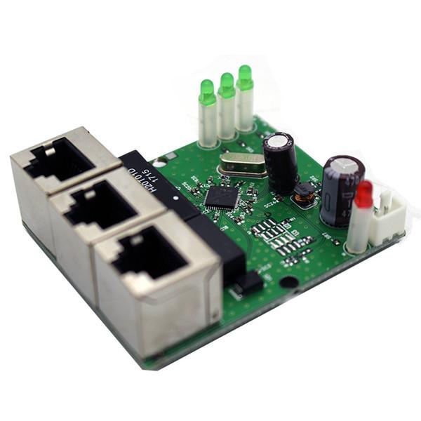 60 * 50mm Mini 3 portas Módulo de Switch de Rede RJ45 Ethernet Switch Board DC 5-15 V Tensão PCB Hub