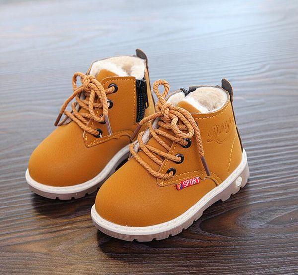 2018 meninos e meninas de inverno novos miúdos botas de neve moda martin botas bebê engrosse botas de camurça de pele quente
