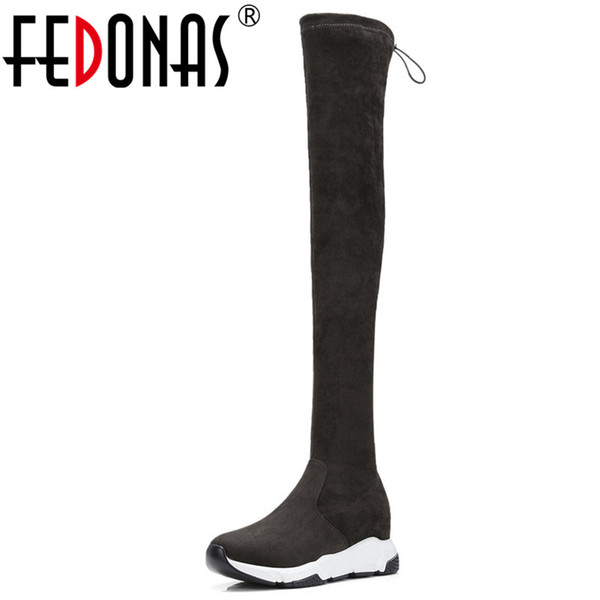 FEDONAS Brand Platforms Stretch Boots Long Autumn Winter Over The Knee High Boots Warm Dancing Shoes Woman Tight High Long