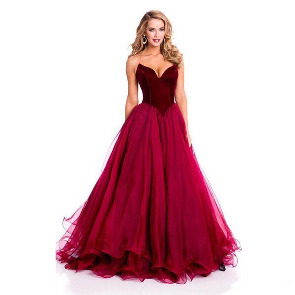 Modest Fashion Vestidos De Festa Elegant Prom Dress With Tulle Sweetheart Off The Shoulder Red Wine Evening Dresses Party Ball Gowns 2019