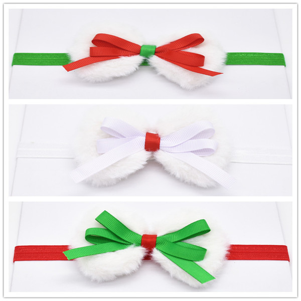 9pcs Faux Rabbit Fur bow Headband for girl Hair Accessories elegant hair bands Photography Prop headwear HD114