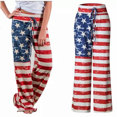 Повседневные женские брюки с шнурком США американский флаг печати полоса полная длина брюки свободные удобные брюки FS5578