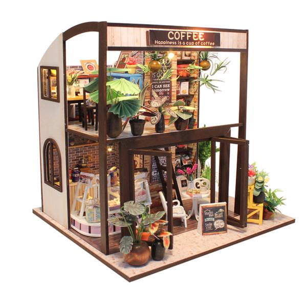 Novos Móveis DIY Casa De Boneca De Madeira Em Miniatura Casas de Bonecas Kit de Móveis Caixa de Puzzle Montar Casa De Bonecas Brinquedos Para presente das crianças