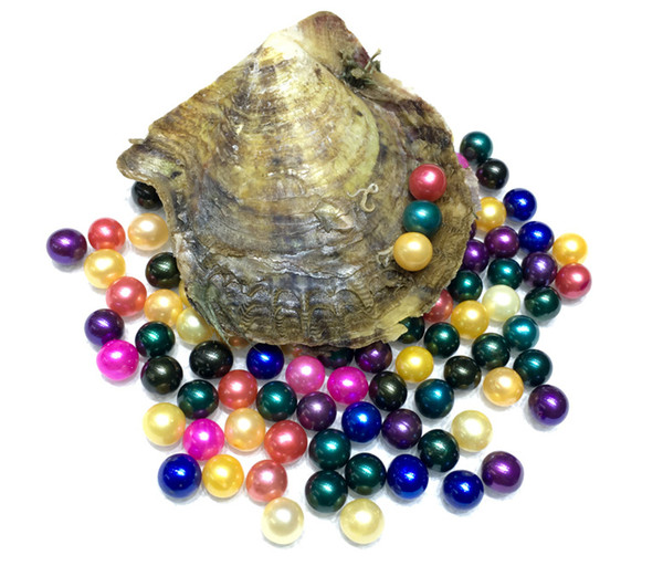 top popular Sea Akoya Pearl oyster 2018 Round 6-7mm pearl 20 Colors seawater natural Oyster wish pearl meaning funny birthday DIY gift wholesale 2020