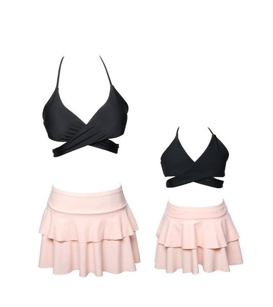 2018 Family Matching Outfits Mother And Daughter Summer Swimsuit Kids Parent Pure color dress bikini falbala Swimwear Baby Girls Clothes Fam