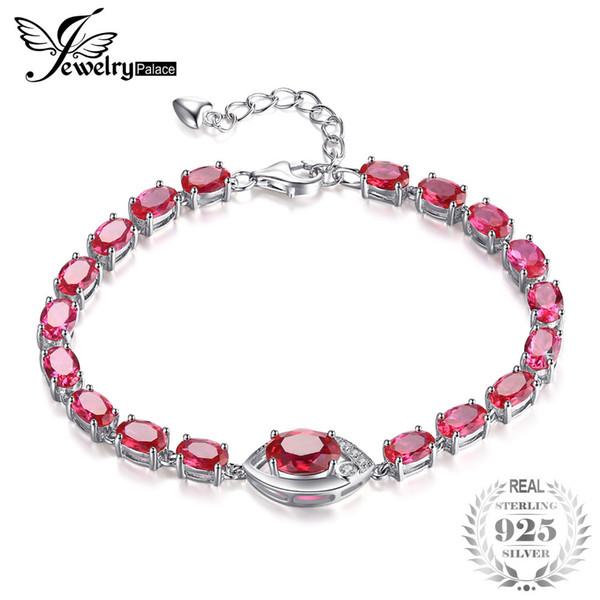 JewelryPalace Eye 10.8ct Créé Ruban Rouge Lien Bracelet 925 En Argent Sterling Classiques De Mariage Ensemble Accessoires De Mode Charme Cadeau S18101507