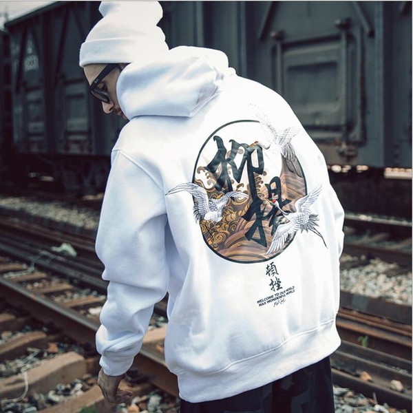 Men Clothes 2018 Hip Hop Harajuku Hoodies Sweatshirts Chinese Style Cotton Print Hoodie Sweatshirts Couple Men Autumn