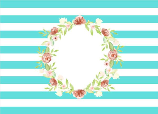 7x5FT Turquoise Stripes Peach Floral Flowers Wreath Communion Custom Photo Studio Backdrop Background Vinyl 220cm x 150cm