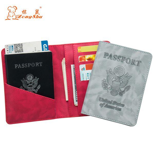 EUA Moda cor vermelha mistura de duas cabeças de águia pu Titular do passaporte de Couro Construído em Bloqueio de RFID Proteger informações pessoais