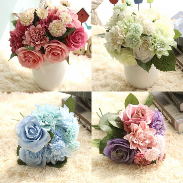 New Silk Rose Bulk Flowers Bridal Bouquet Wedding Party