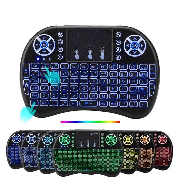top popular 20pcs Rii I8 Backlit Wireless Keyboard Backlight Air Mouse Remote Control With Touchpad For X96 Mini TX3 Mini 2021