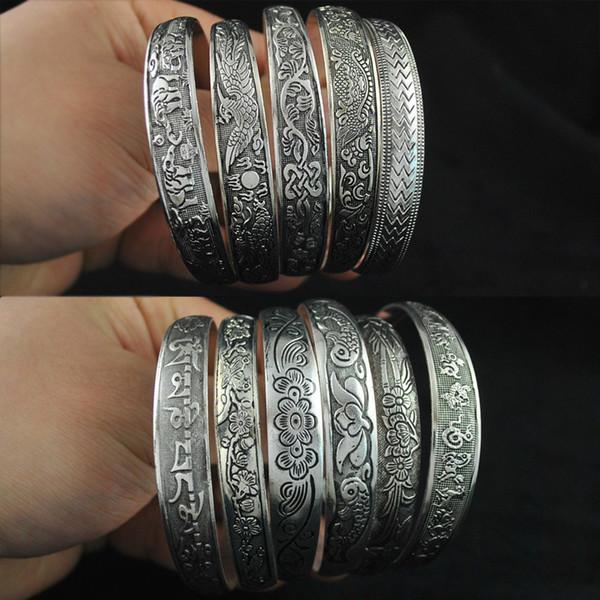 Pulseira de prata tibetana prata mão ornamento antigo esculpido dragão feminino e Phoenix pulseira Booth atacado