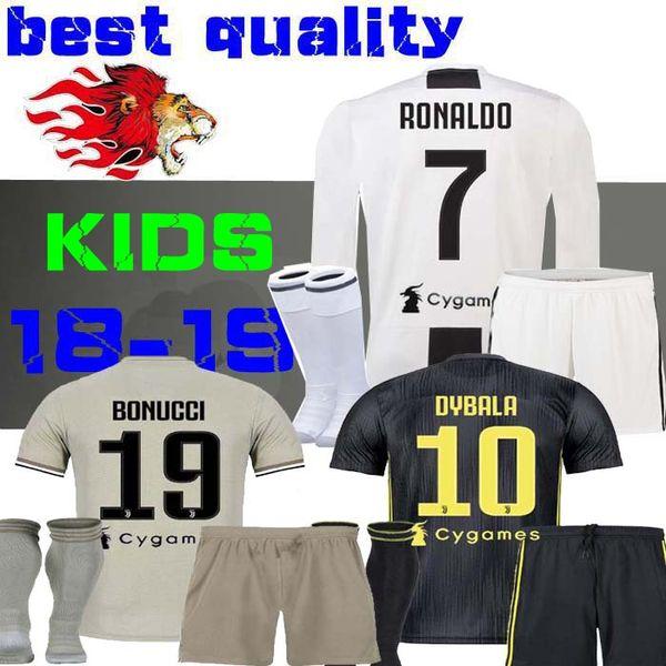 sports shoes 7434a 147d4 2018 2018 2019 Dybala Soccer Jersey 18 19 Chiellini Mandzukic Football  Shirt Kids Boy Child Juventus Ronaldo Third Away 3rd Bonucci Long Sleeve  From ...