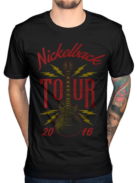 Cheap T Shirts Short Sleeve Nickelback Guitar Tou Casual Crew Neck Tee Shirts For Men