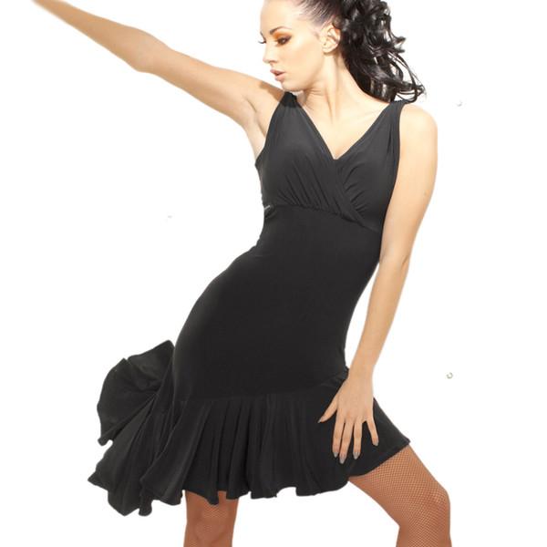 Мода женщин без рукавов V-образным вырезом черный латинский танец платье Румба юбка One Piece сценический костюм