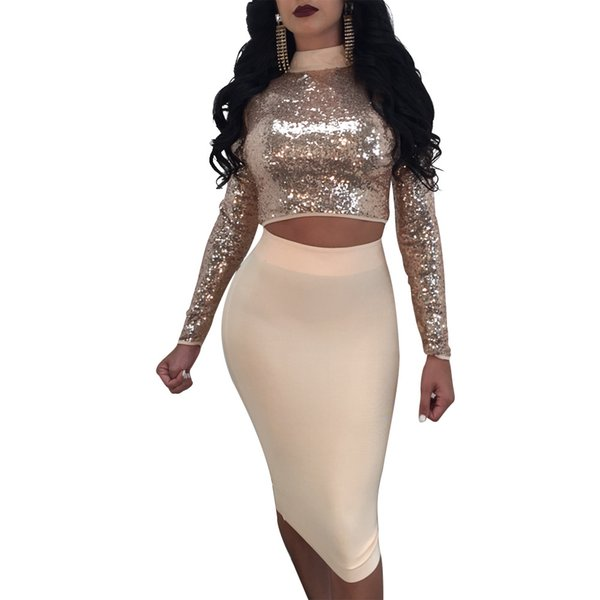 Sparkle Sequins Two Pieces Women Party Dresses 2018 Sexy High Neck Lace up Long Sleeves Top and Skirt for Night Out Club Real Pictures