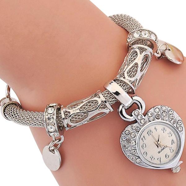 Fashion Popular Brand Luxury Women's Love Heart Bracelet Watch Charm Band Analog Quartz Wrist Watch