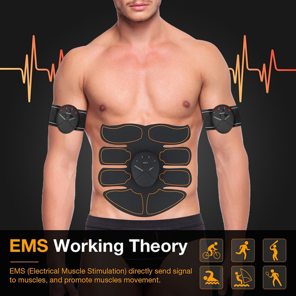 best selling New EMS Abdominal Muscle Exerciser Trainer Smart ABS Stimulator Fitness Gym ABS Stickers Pad Body Loss Slimming Massager Unisex