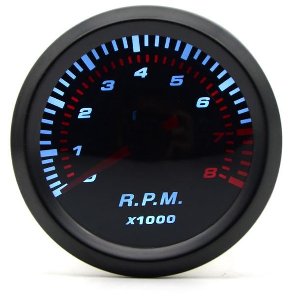 2 inç 52mm Evrensel Duman Lens Otomatik Takometre Beyaz LED 0-8000 RPM Araba Ölçer Araba Ölçer