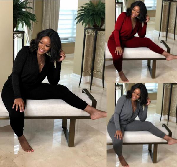 Mulheres manga comprida Macacão Macacão Capris Pescoço V Profundo Macacão Sexy Bodysuit Designer de mulheres caem roupas Preto cinza vermelho cor pura S-2XL DHL