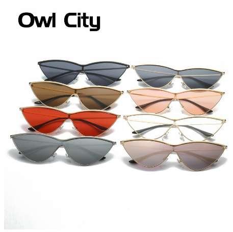 Eulen-Stadt-Katzenaugen-Sonnenbrille-Frauen-Einteiler Weinlese-Sonnenbrille-Retro- Damen-Marken-Designer-Sonnenbrille-Schwarz-rote Farbe Rosa-Spiegel