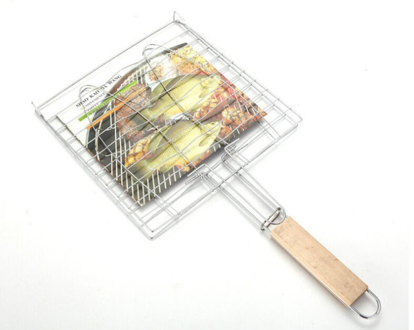 Summer Outdoor Barbecue Tools Grilled Fish Clip Roast Meat Hamburger Net Environment Barbecue Accessories with Wood Crank