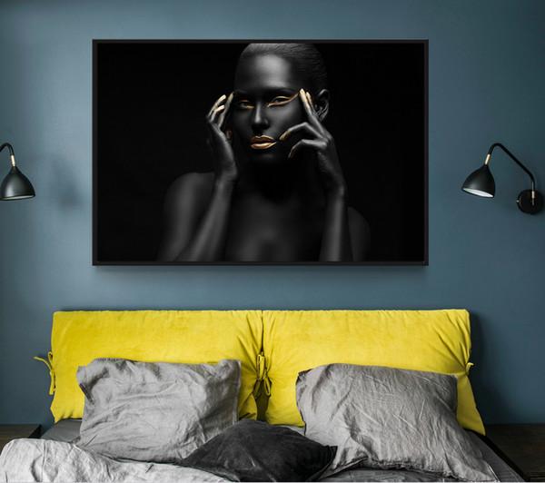 Modern Photo Pictures Sexy Girl Lábios Olhos Preto Modelo de Pintura Da Lona Arte Da Parede Para Sala de estar HD Home Decor Cartazes E Estampas