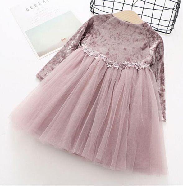 2018 Christmas new children's clothing Korean girls dress lace suede stitching long-sleeved skirt children show dress