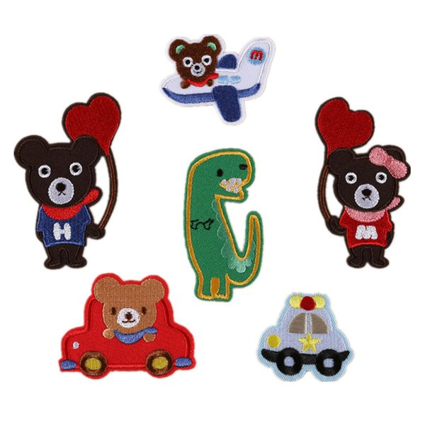 6 Mixed Embroidery Patches Sew Iron On Bear Dinosaur Embroidered Badge For Bag Jeans Hat T Shirt DIY Appliques Craft Decoration
