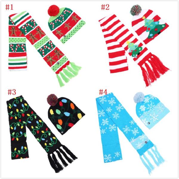 4 Styles Christmas LED Knitted Hat Scarf Set LED Lights Pom Beanie Scarves Set Xmas Snowflake Crochet Hats Christmas Gift