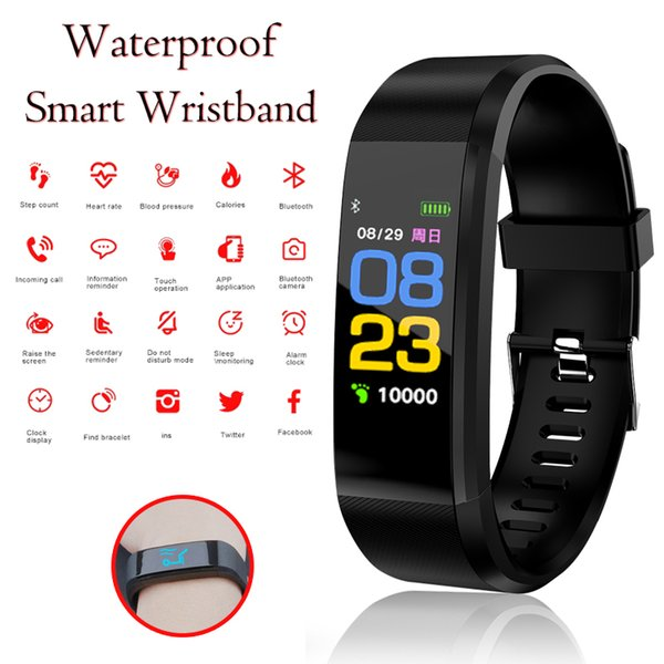 NEW 115plus Smart Bracelet Sport Smart Watch Men Women Heart Rate Fitness Tracker Wristbands For Android IOS Connect Watch