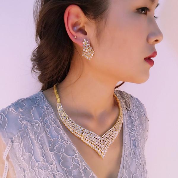 Kindlegem Fashion Crystal Crown African Jewelry Set Splendida Dubai oro colore costume collana bracciale orecchini anello per le donne