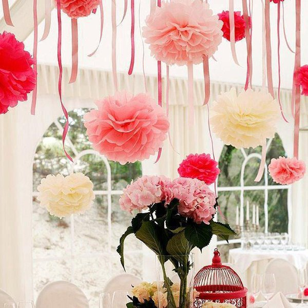 1pcs 10inch (25cm) pompon Tissue Paper Pom Poms Flower Kissing Balls Home Decoration Festive Party Supplies Wedding Favors