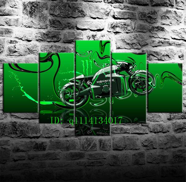 Motocicletta variopinta -8,5 pezzi Stampe su tela Pittura a olio di arte della parete Home Decor / (Senza cornice / Incorniciato)