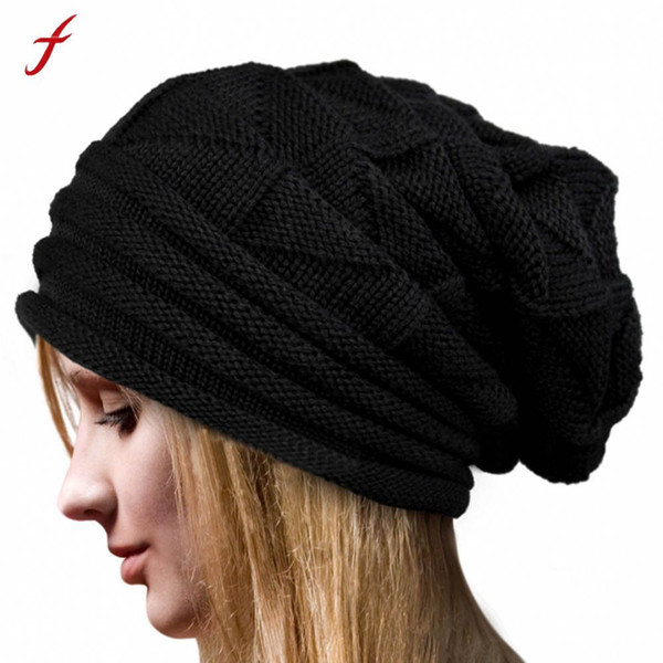 Feitong Women Winter Warm Hats Knit Turban Twist Hair Wrap Solid Casual Skullies & Beanies Hat Cap Knit Turban Y18110503