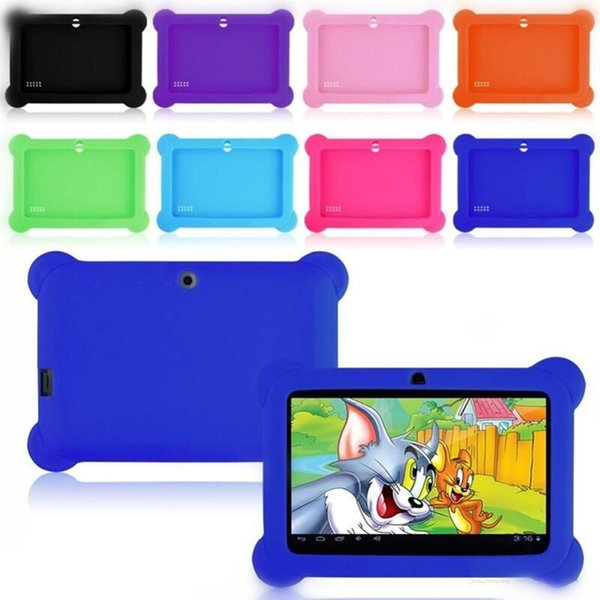 """Anti Dust Kids Child Soft Silicone Rubber Gel Case Cover For 7"""" 7 Inch Q88 Q8 A33 A23 Android Tablet pc MID Free shipping 10 colorful"""