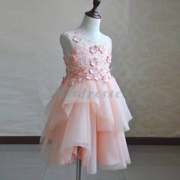 Princess Coral Pink Flower Girl Dresses Knee Length Girls Pageant Dress Kids Formal Weeding Party Dress