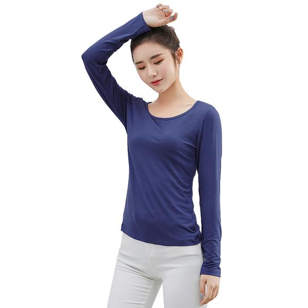 2019 Otoño Invierno Nueva camiseta para mujer Camisetas básicas casuales para mujer de manga larga O-cuello sólido delgado modal superior Pullover Ropa