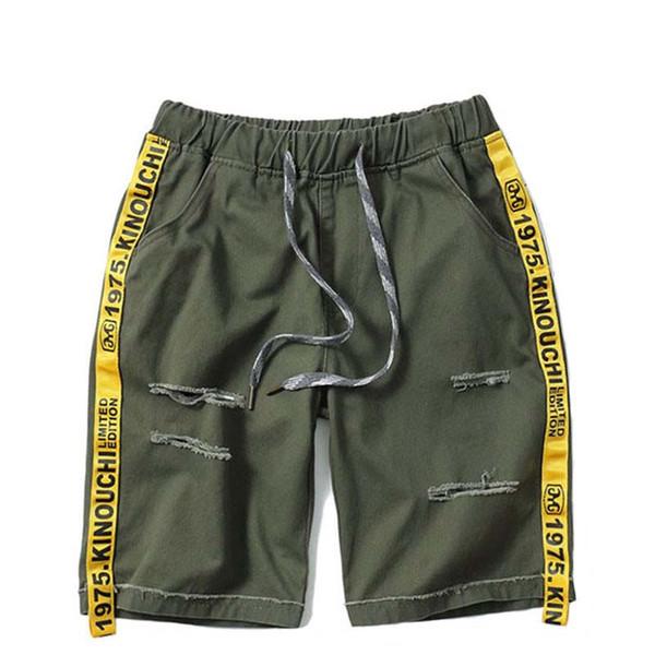 2018 Summer Jeans Short Ripped Hole Destroyed Distressed Denim Short Hip Hop Mens Elastic Waist Casual Shorts Side Swag Ribbon