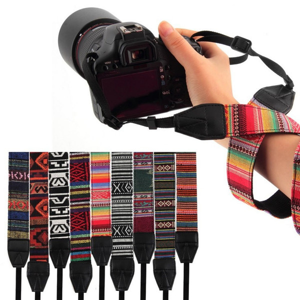 3 in 1 Camera Straps Vintage Hippie Style Canvas Shoulder Neck Durable Cotton for Nikon/Pentax/Sony/Canon DSLR Camera