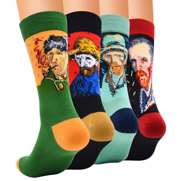 4 Pairs erkek Elbise Çorap, Moda Renkli Yenilik Komik Retro Sanat Dünyaca Ünlü Boyama Serisi Baskı Rahat Penye Pamuk Mürettebat Çorap