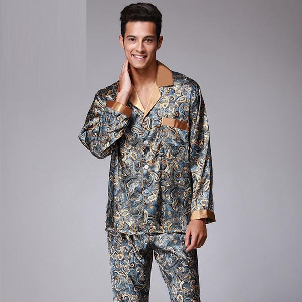 Mans V Pescoço Falso Pijama De Seda para Homens com L XL XXL Tamanho com Impressão de Camisa Aberta com Botão Sleepwear Para Pijama de Manga Longa
