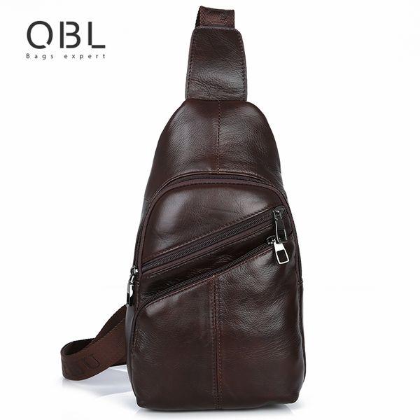 QiBoLu 2017 Cow Genuine Leather Sling Bags Men Chest Crossbody Single Shoulder Bag for Man Sacoche Homme Bolsa Masculina MBA65